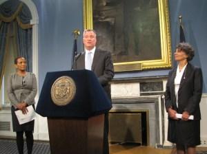 Bill de Blasio announcing his new health commissioner.