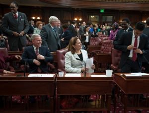 Melissa Mark-Viverito and colleagues in the City Council chambers. (Photo: William Alatriste/NYC Council)