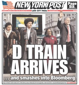 D TRAIN ARRIVES ... and smashes into Bloomberg.