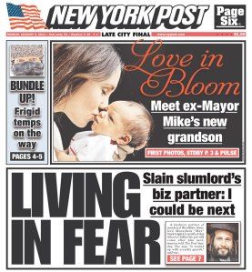 The New York Post isn't backing down and has Menachem Stark on its cover again, in addition to a story on former Mayor Michael Bloomberg's grandson.