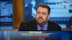 Mayor Bill de Blasio's new press secretary Phil Walzak on NY1. (Photo: NY1 screengrab)