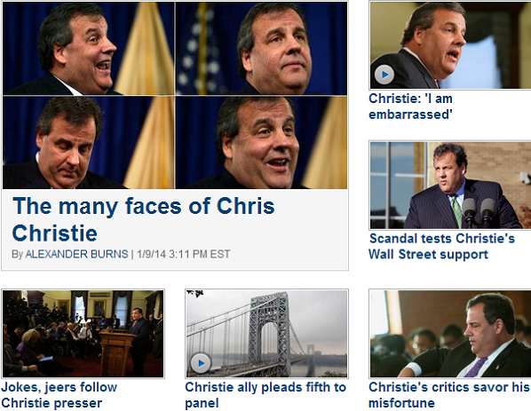 The Politico homepage went into full Chris Christie-mode today.