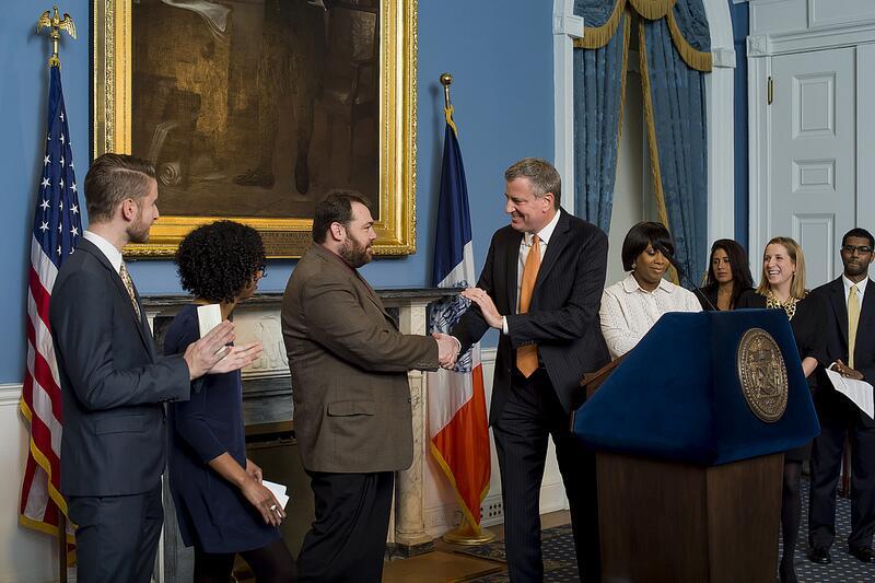 Bill de Blasio unveils his press team earlier today.