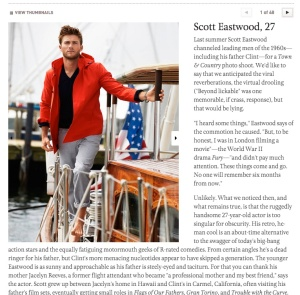 Scott Eastwood for Town and Country.