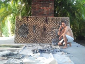 Blumenthal, assisting JPW3 with work at his Miami Beach home. (Courtesy Robert Blumenthal)