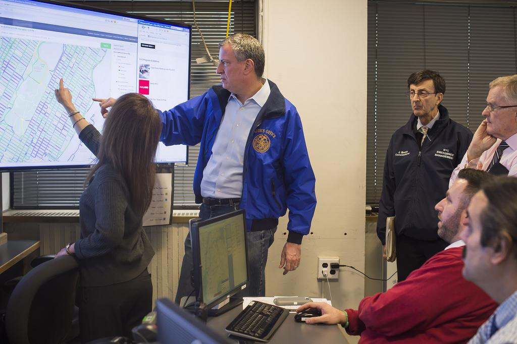 Mayor Bill de Blasio preps for today's snow storm. (Photo: NYC Mayor's Office)