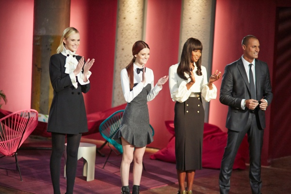 Ms. Hearst with fellow The Face stars Anne V.,  Naomi Campbell and Nigel Baker.