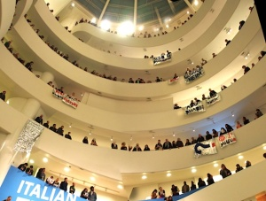 Protestors take over the museum. (Courtesy Gulf Ultra Luxury Faction via Gothamist)