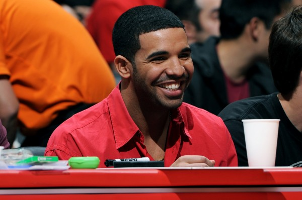 Drake supporting his Toronto Raptors at a Clippers game in Los Angeles on Feb. 7. (Andrew D. Bernstein/NBAE/Getty Images)