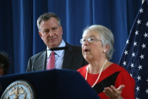 Mayor Bill de Blasio with Schools Chancellor Carmen Farina.