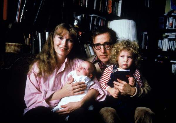Actress Mia Farrow w. longtime boyfriend, director Woody Allen, their son Satchel and adopted daughter Dylan.  (Photo by David Mcgough/DMI/Time Life Pictures/Getty Images)