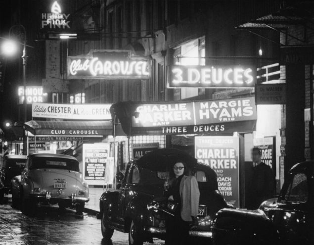 A nighttime look at 52nd Street, former hotbed of jazz, circa 1948.