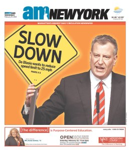 The amNewYork cover after Bill de Blasio's traffic safety announcement this week.