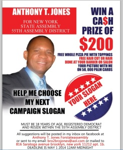 Anthony Jones' campaign slogan contest. (Photo: Jones campaign)