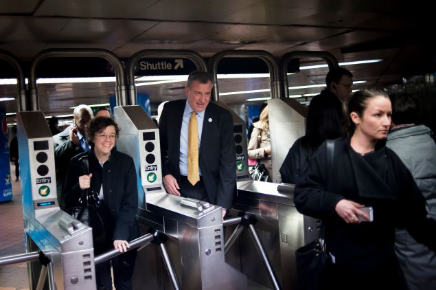Bill de Blasio riding the subway Thursday evening, after his reported traffic violations. (Photo: Rob Bennett for NYC Mayor's Office)