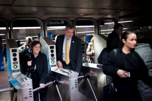 Bill de Blasio riding the subway Thursday evening, after his reported traffic violations. (Photo: Rob Bennett/NYC Mayor's Office)