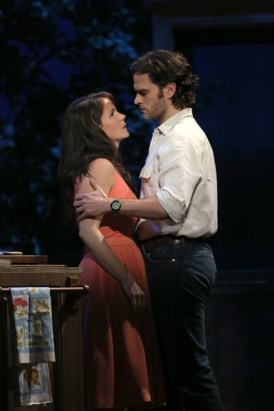 Kelli O'Hara and Steven Pasquale star in The Bridges of Madison County. (Photo by Joan Marcus)