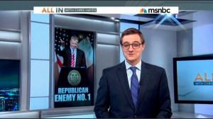 "Chris Hayes next to ""Republican Enemy No. 1."" (screengrab: msnbc.com)"