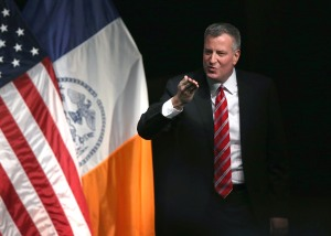 Bill de Blasio delivering his State of the City speech. (Photo: John Moore/Getty Images)
