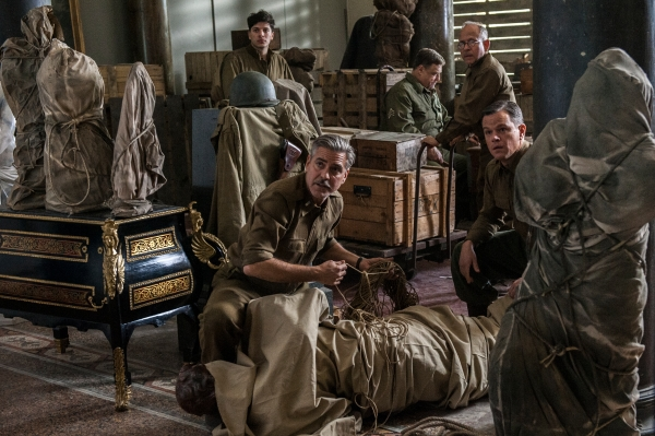 Dimitri Leonidas, George Clooney, John Goodman, Bob Balaban and Matt Damon, from left, star  in The Monuments Men.