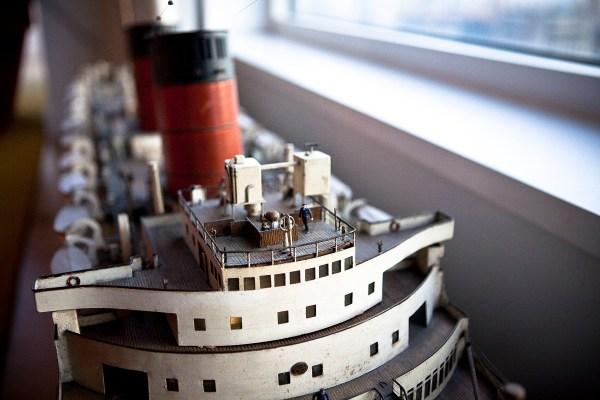 The Mauritania ship model.