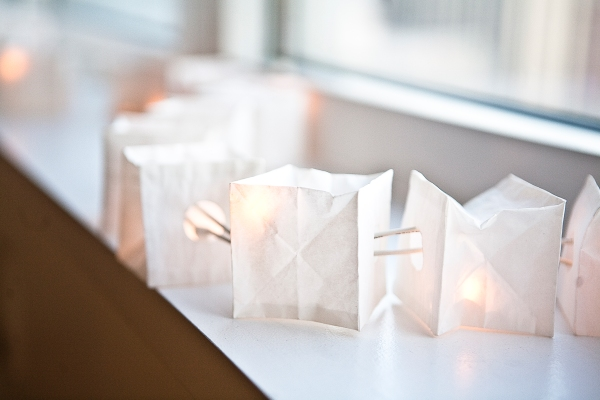 The paper lamps add a delightful glow to the space.