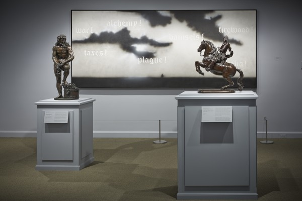 Installation view with works by Adriaen de Vries, Ruscha and Piamontini. (Photo by Michael Bodycomb, courtesy the Frick)