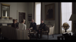 The scene where Claire Underwood confronts military commanders with their controversial brochure. (screengrab: Netflix)