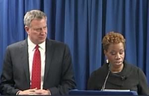 Mayor Bill de Blasio and his new NYCHA Chair Shola Olatoye.
