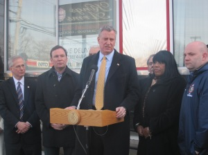 Bill de Blasio in Staten Island this morning.