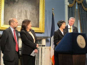 Bill de Blasio unveiling his latest appointments this afternoon.