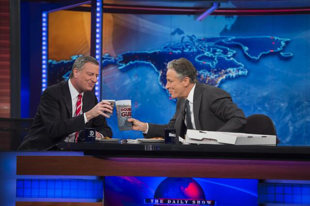 Mayor de Blasio filming tonight's episode of The Daily Show. (Photo: Twitter/@marti_adams)