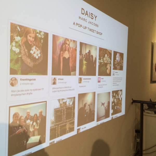 Instagram pics were projected on the wall in real time. (Photo: New York Observer)