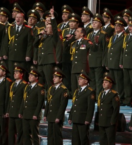 The Russian Police Choir performs at Sochi. )Photo via Getty Images)