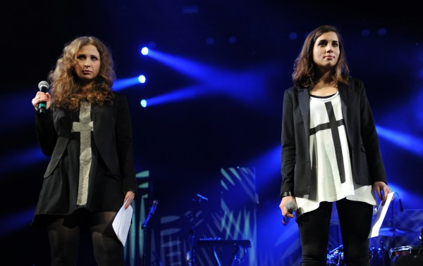 Maria Alyokhina, left, and Nadezhda Tolokonnikova of Pussy Riot. (Photo via Getty Images)