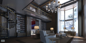 The imagined library of the mega-townhouse,  never to become a reality.