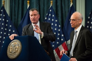 Bill de Blasio presenting his first budget. (Photo: Poll/The New York Times)