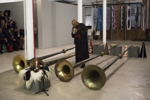 Terry Adkins, Blanche Bruce and the Lone Wolf Recital Corps performing 'The Last Trumpet' in the Performa 13 biennial. (Courtesy Performa/Salon 94)