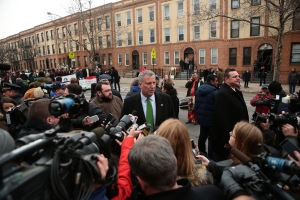 Bill de Blasio speaking to reporters at today's parade.