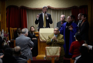 Mayor Bill de Blasio speaking at the Church of God. (Photo: NYC Mayor's Office)