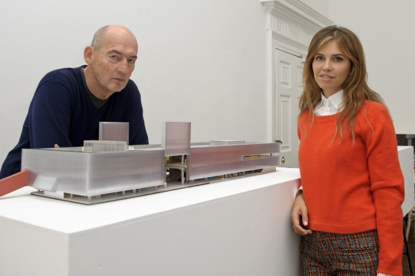 Koolhaas and Zhukova with a model for the new Garage.