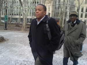 Assemblyman William Boyland Jr. leaving a Brooklyn federal court house today.