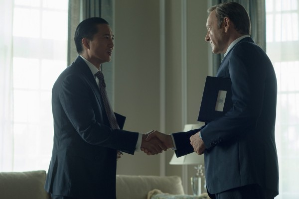 Xander Feng and VP Frank Underwood on House of Cards. (Netflix)