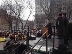 Andrew Cuomo speaking at the rally. (Photo: Twitter/MatthewLWing)