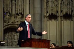 Bill de Blasio giving an education speech in a Manhattan church Sunday. (Photo: Rob Bennett/NYC Mayor's Office)