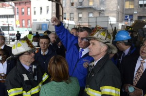 Bill de Blasio at the scene. (Photo: Rob Bennett/NYC Mayor's Office)