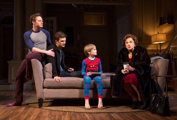 Bobby Steggert, Frederick Weller, Grayson Taylor and Tyne Daly, from left, in Mothers and Sons. (Photo by Joan Marcus)