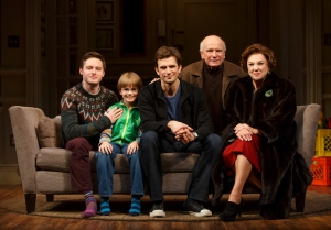 Bobby Steggert, Grayson Taylor, Frederick Weller, Terrence McNally and Tyne Daly, from left. (Photo by Joan Marcus)