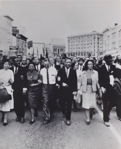 Moneta Sleet Jr., 'Rosa Parks, Dr. and Mrs. Abernathy, Dr. Ralph Bunche, and Dr. and Mrs. Martin Luther King, Jr. leading marchers into Montgomery,' 1965, printed circa 1970. (© Johnson Publishing Company, LLC)