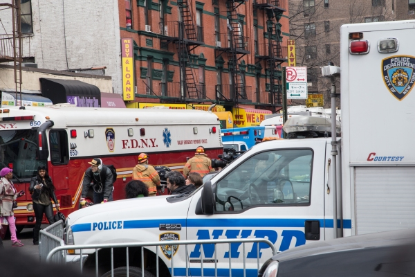 Scene after the 3/12/14 explosion on Park Avenue and 116th Street (Credit: Arman Dzidovic/The New York Observer)